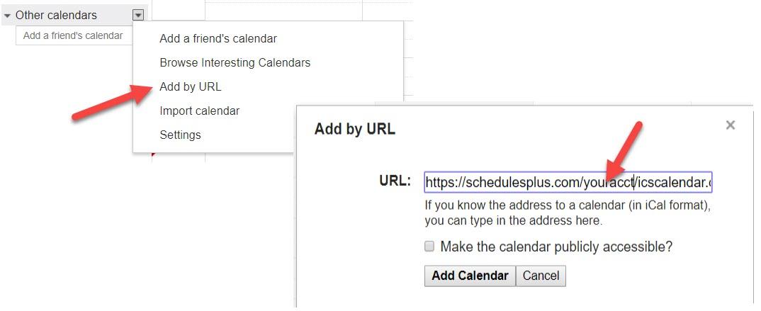 Import a SchedulesPlus calendar into Google Calendar, BURBIO